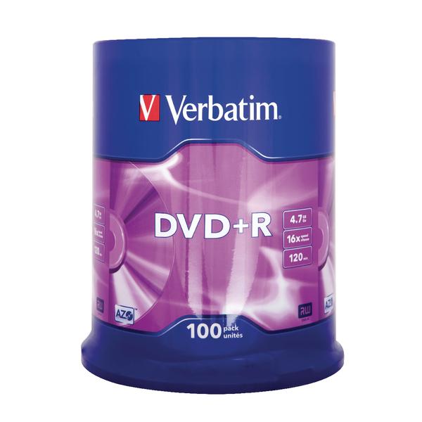 Verbatim 4.7GB 16x Speed Jewel Case DVD+R (Pack of 100) 43519
