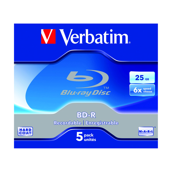 Image for Verbatim Blu-ray BD-R 25 GB 6x Jewel Case (Pack of 5) 43715