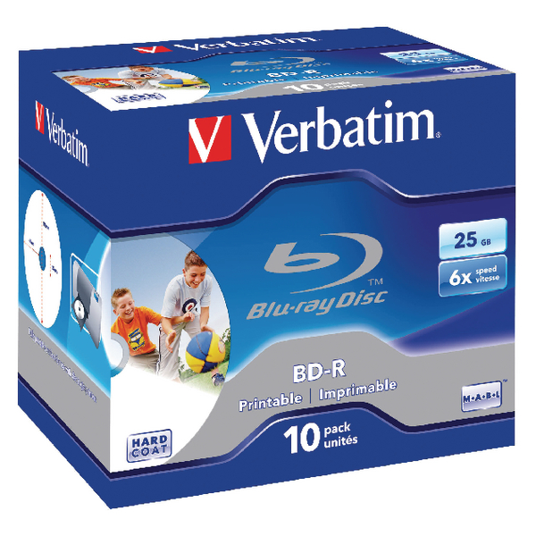Image for Verbatim Blu-ray BD-R 25 GB 6x Jewel Case (Pack of 10) 43713