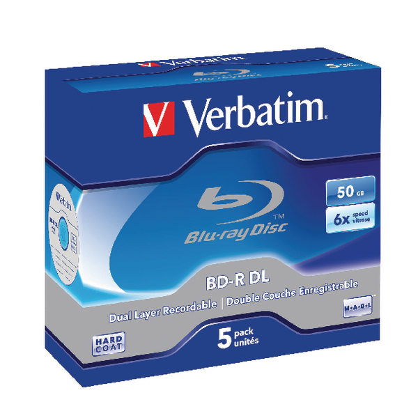 Image for Verbatim Blu-ray BD-R 50 GB 6x Jewel Case (Pack of 5) 43748