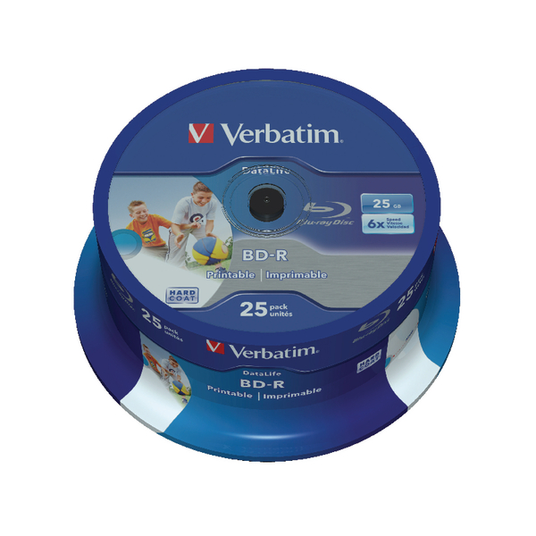 Image for Verbatim Blu-ray BD-R Datalife 25GB 6x wide Inkjet Printable 25 pack Spindle 43811