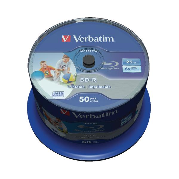Verbatim Blu-ray BD-R 25 GB 6x Printable Spindle (50 Pack) 43812