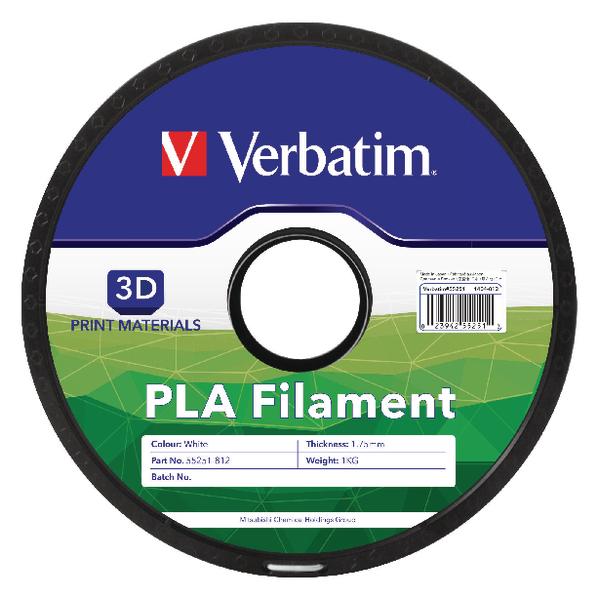 Verbatim 1.75mm White PLA 3D Printing Filament 1kg Reel 55251