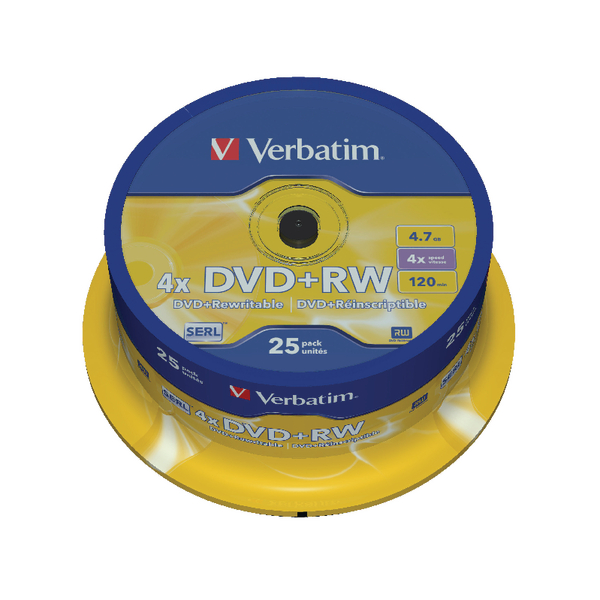 Verbatim DVD+RW 4x Spindle (25 Pack) 43489