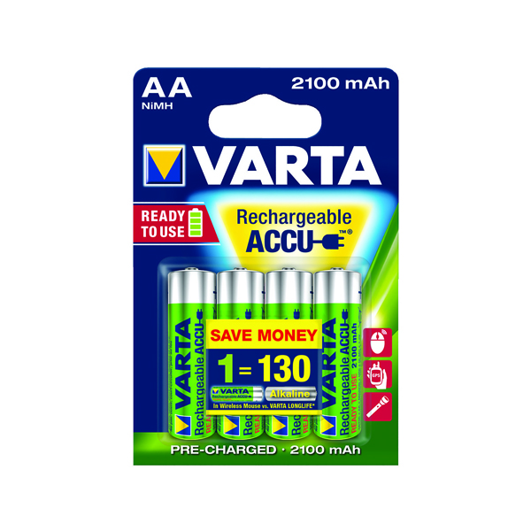 Varta AA Rechargeable Accu Battery NiMH 2100 mAh (4 Pack) 56706101404