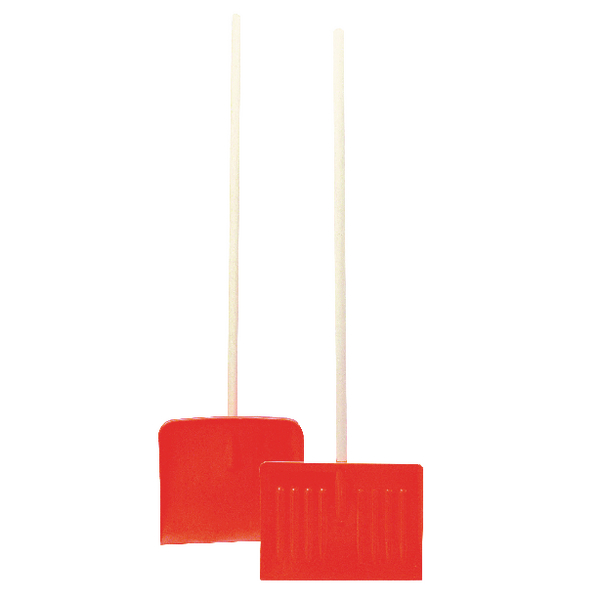 Orange Winter Snow Shovel/Pusher With Wooden Pole 317595