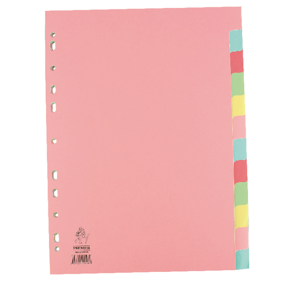 Image for A4 Manilla Divider 12-Part Pink With Multi-Colour Tabs WX01515