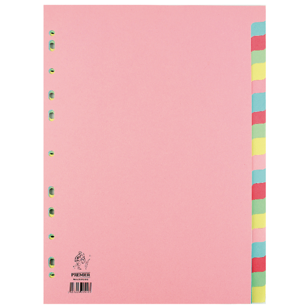 Image for A4 Manilla Divider 20-Part Pink With Multi-Colour Tabs WX01517