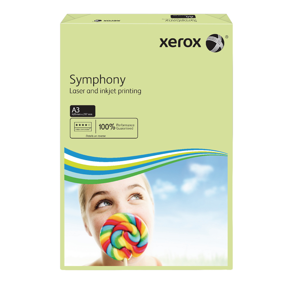 Xerox A3 Symphony Tinted 80gsm Pastel Green Copier Paper