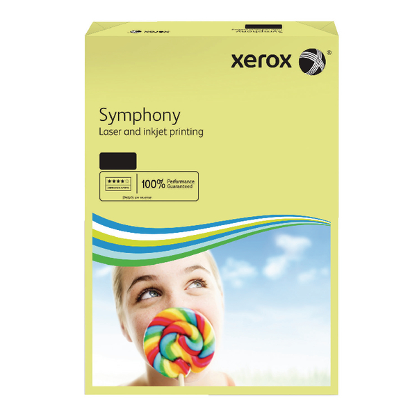 Xerox A3 Symphony Tinted 80gsm Pastel Yellow Copier Paper (Pack of 500)