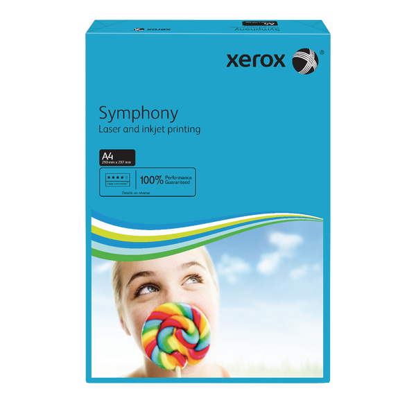 Xerox A4 Symphony Tinted 80gsm Dark Blue Copier Paper 003R93959