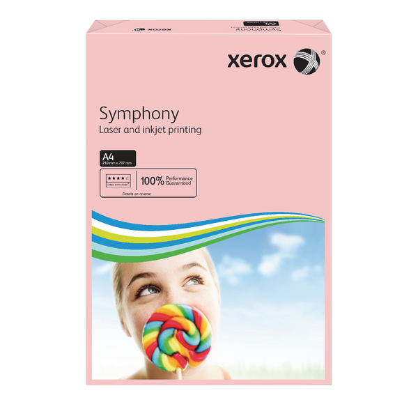 Xerox Symphony Pastel Tints Pink Ream A4 Paper 80gsm